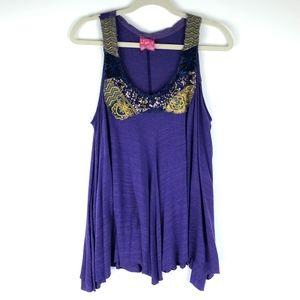 Free People Purple Sequin Top Size Medium